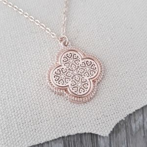 Jewelry - Rose Gold Filigree Clover Necklace